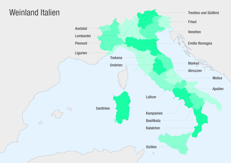 Weinland Italien Karte