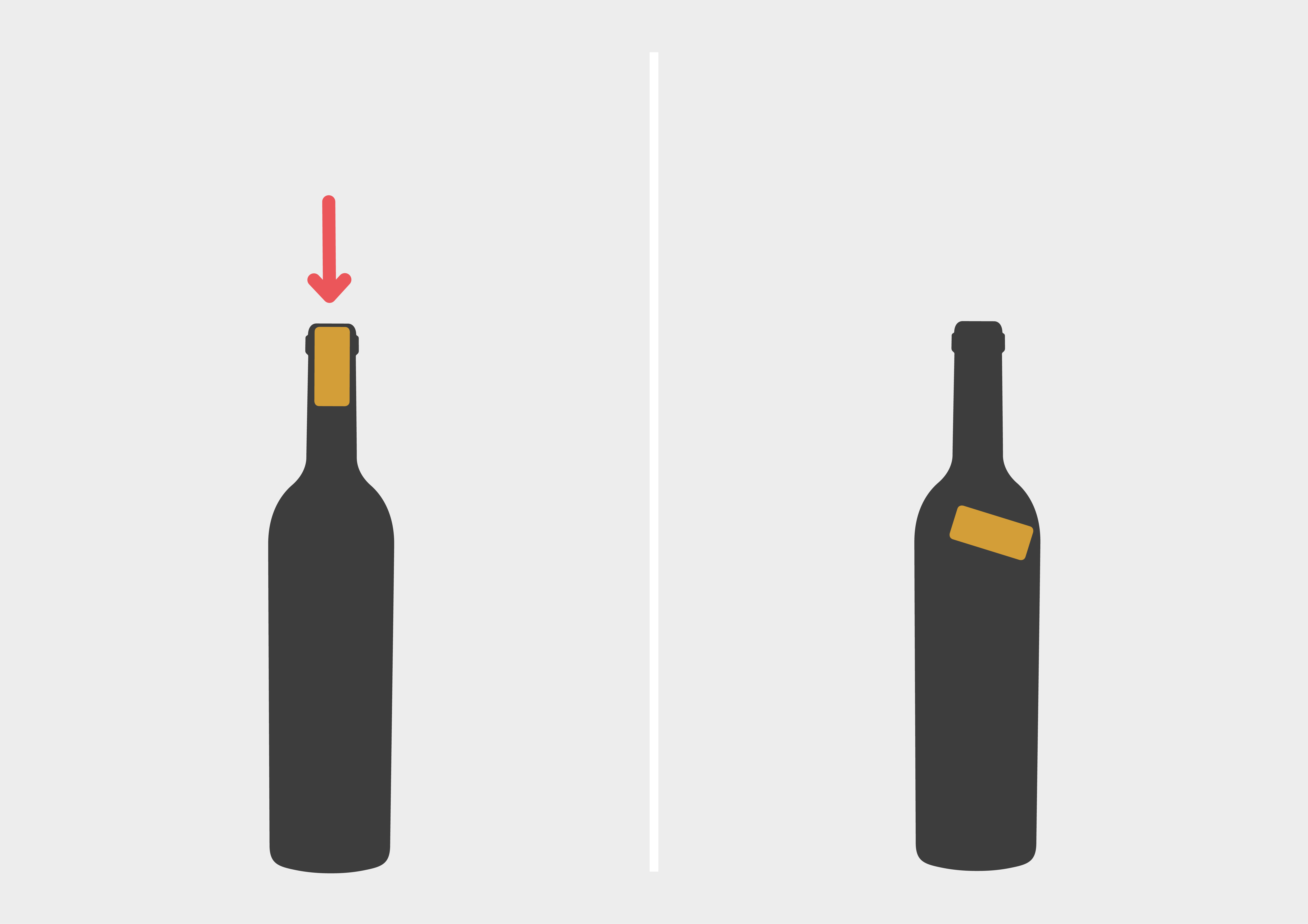 Weinflasche öffnen - Korken reindrücken