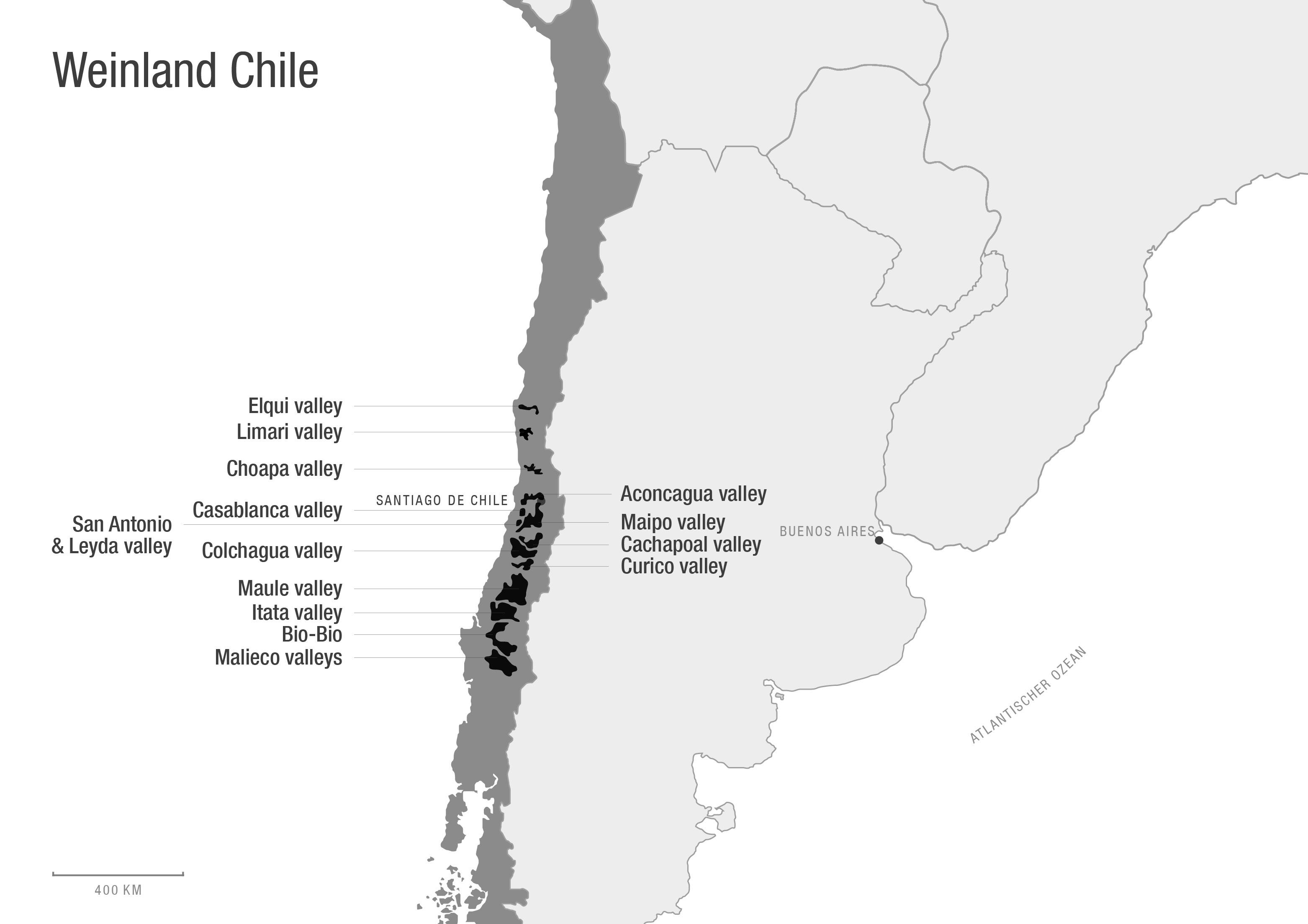 Karte von Chile. Zeigt die Hauptanbaugebiete.