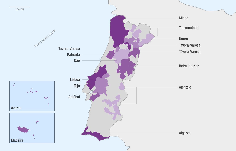 Eine Karte der Weinregionen im Weinland Portugal