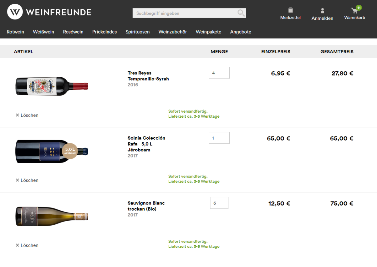 Weinfreunde.de Warenkorb
