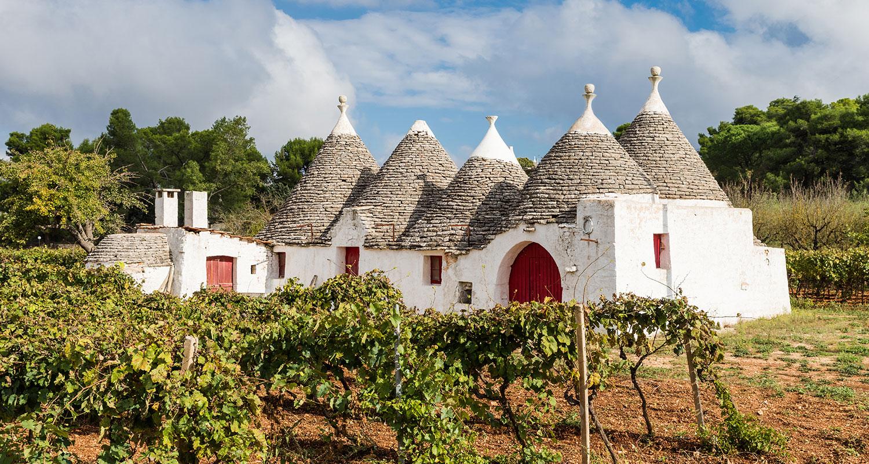 Traditionelle Häuser im Trulli Stil in Apulien